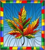 与秋天枫叶的彩色玻璃例证在蓝色背景,在一个明亮的框架 免版税库存照片