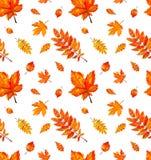 与秋天橙色水彩叶子的无缝的样式 库存例证