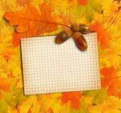 与秋天橡木叶子的老难看的东西纸 库存照片