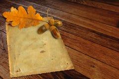 与秋天橡木的老难看的东西纸离开和橡子 免版税图库摄影