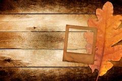 与秋天橡木的老难看的东西纸幻灯片离开 免版税库存照片