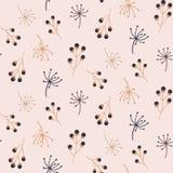 与秋天花卉元素的逗人喜爱的无缝的样式 手拉的印刷品 向量例证