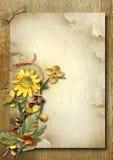 与秋天花束和向日葵的葡萄酒垂直的卡片 图库摄影