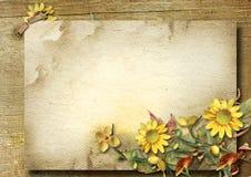 与秋天花束和向日葵的葡萄酒明信片 库存图片