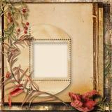 与秋天花束的难看的东西背景和照片的一个框架 免版税库存照片
