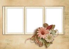 与秋天花的典雅的标记框架 免版税库存图片