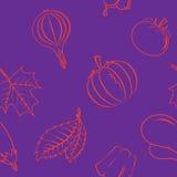 与秋天菜和叶子的无缝的样式 免版税库存图片