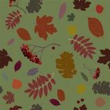 与秋天装饰品的无缝的样式 黑,桔子,绿色 传染媒介illustrat 向量例证