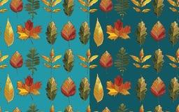 与秋天集合叶子的传染媒介无缝的样式 免版税库存照片