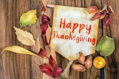 与秋天题材的愉快的感恩文本 免版税库存图片