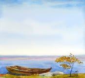 与秋天风景的水彩背景 图库摄影