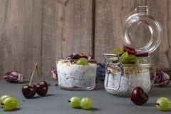 与种子的酸奶chia和莓果 免版税库存图片