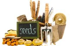 与种子,手套,庭院犁耙的柳条筐 库存照片