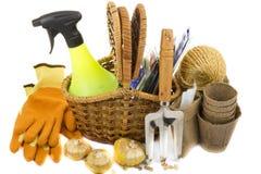 与种子,手套,庭院犁耙的柳条筐 免版税库存图片