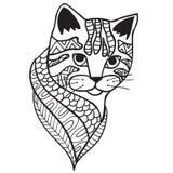 与种族样式的猫黑白乱画印刷品 库存照片