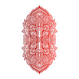 与种族装饰品的传染媒介印地安手拉的hamsa 美丽的印度ethnica装饰品 民间无刺指甲花纹身花刺样式 向量例证
