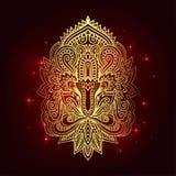与种族装饰品的传染媒介印地安手拉的hamsa 美丽的印度ethnica装饰品 民间无刺指甲花纹身花刺样式 库存例证