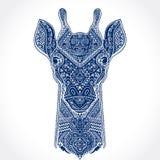 与种族装饰品的传染媒介长颈鹿 库存照片