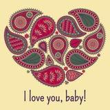 与种族装饰品的花卉佩兹利背景和心脏塑造 在红色,绿色的浪漫设计 文本我爱你婴孩 免版税库存图片