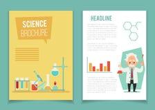 与科学家和化工设备平的动画片样式的小册子模板 皇族释放例证