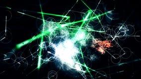 与科学幻想小说幻想和氖线的抽象Loopable CGI行动图表 库存例证