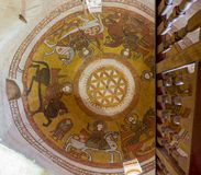 与科普特人的壁画绘画的圆顶包括生活花在圣保罗修道院的带状闪长岩,埃及 库存照片