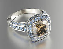 与科涅克白兰地金刚石的定婚戒指 背景黑色织品金珠宝银 库存图片