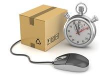 与秒表的网上购物概念 免版税图库摄影