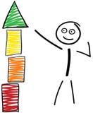 与积木塔的棍子形象 向量例证