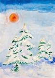 与积雪的冷杉木的冬天风景 库存照片