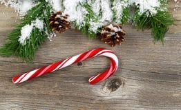 与积雪的分支和装饰的圣诞节边界在r 免版税库存照片