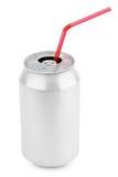 与秸杆的铝汽水罐 免版税图库摄影
