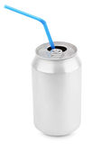 与秸杆的铝汽水罐 免版税库存图片