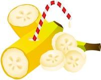 与秸杆的香蕉 库存例证