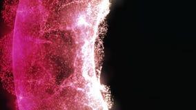 与移动一个螺旋,无缝的圈的许多白色微粒的五颜六色,明亮的转动的3D弧 美好的抽象能量 皇族释放例证