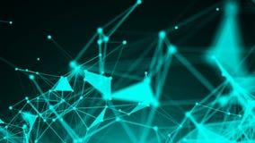 与移动的线和小点的抽象蓝色几何背景 库存例证