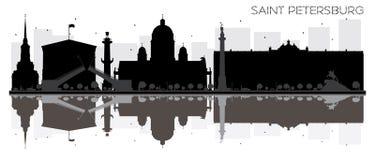 与稀土的圣彼得堡市地平线黑白剪影 向量例证