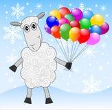 与空气大理石的快活的绵羊 免版税库存照片