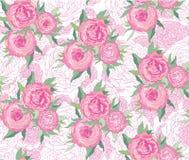 与空白和桃红色花的无缝的背景 免版税库存图片