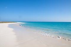 与空白沙子的热带海滩 免版税库存照片