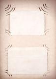 与空白照片的葡萄酒象册页 免版税库存图片