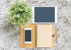 与空白的包装纸空间的特写镜头棕色笔记本日志在与棕色笔的页与在灰色鲤鱼的人为植物和熊玩偶 库存图片