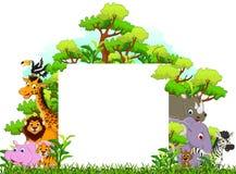 与空白的标志和热带森林背景的逗人喜爱的动物动画片 库存照片