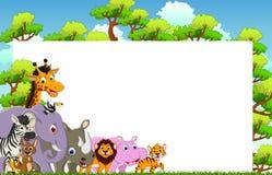 与空白的标志和热带森林背景的逗人喜爱的动物动画片 图库摄影