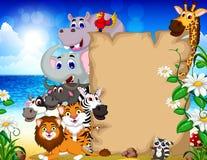 与空白的标志和热带海滩背景的动物动画片 免版税图库摄影