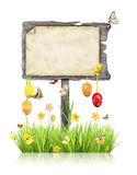 与空白的标志的复活节概念 库存图片