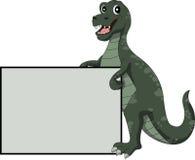 与空白的标志的恐龙动画片 库存图片