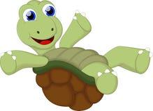 与空白的标志的滑稽的乌龟动画片您的设计 免版税库存照片