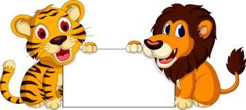 与空白的标志的逗人喜爱的狮子和老虎动画片 免版税图库摄影