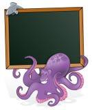 与空白的标志的逗人喜爱的章鱼 免版税库存图片